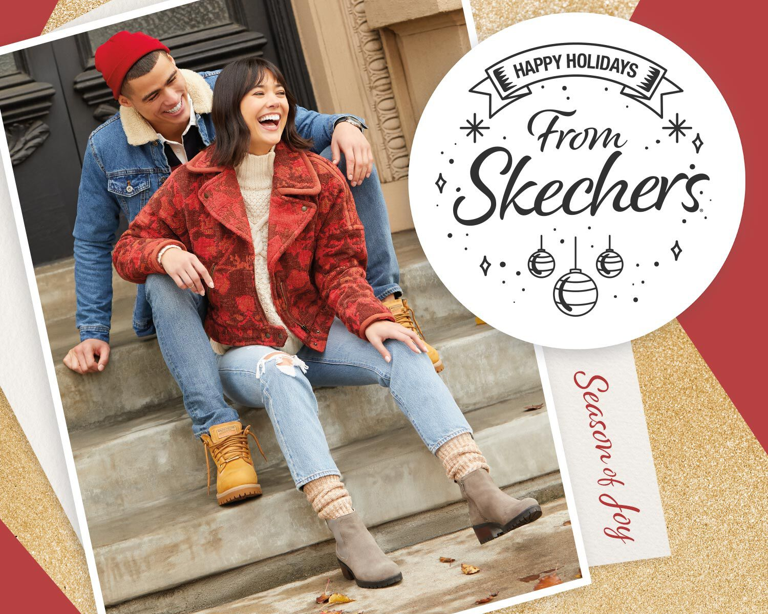 Man and woman sitting on porch steps - Happy Holidays - Shop the Gift Guide