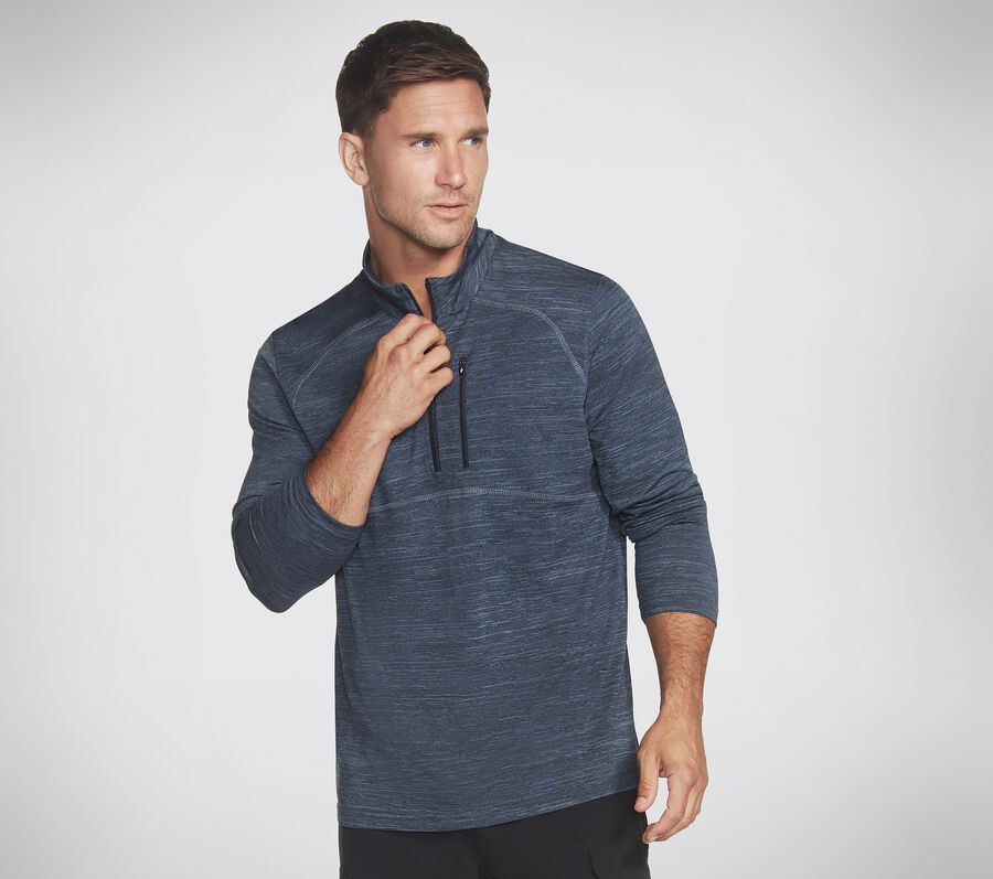 Skechers Apparel On the Road 1/4 Zip Shirt, BLUE / GRAY, largeimage number 0
