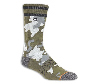 1 Pack Extended Terry Camo Crew Socks