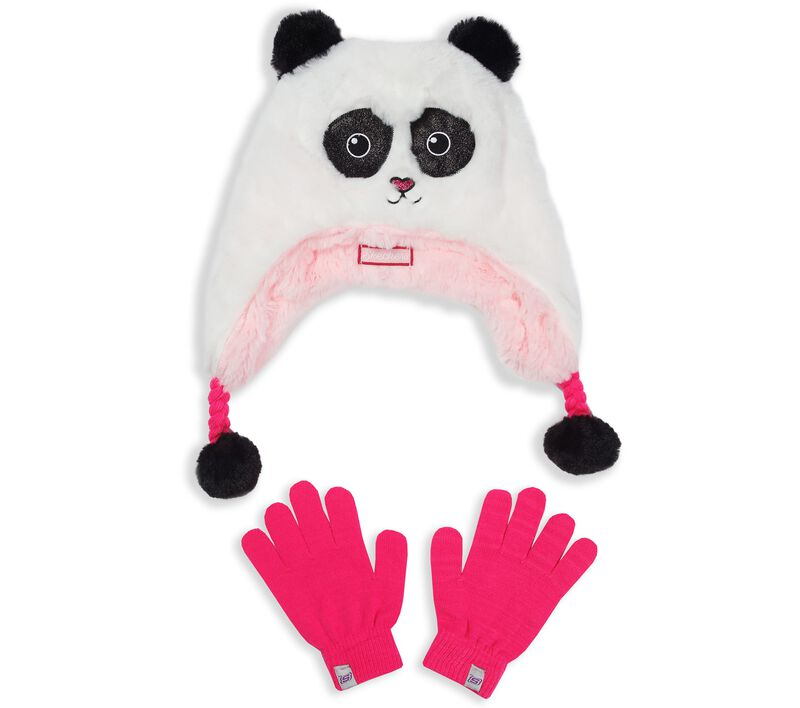 Skechers Girls' Panda Faux Fur Hat and Gloves Set