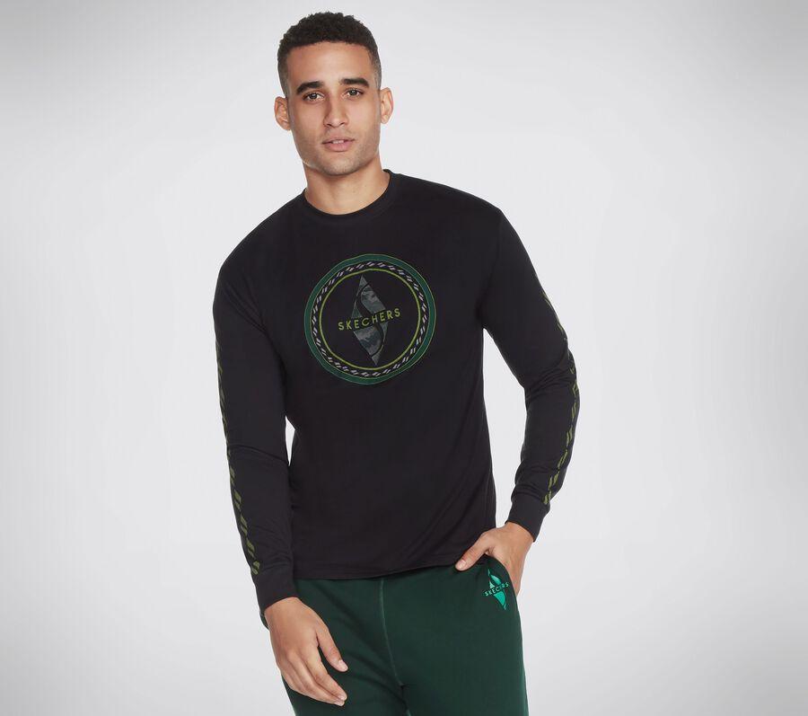 Skechers Apparel Camo Diamond LS Tee Shirt, BLACK, largeimage number 0