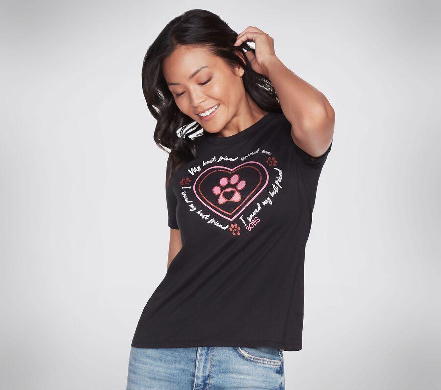 BOBS Apparel - Glitter Heart Crew Tee Shirt, BLACK, largeimage number 0