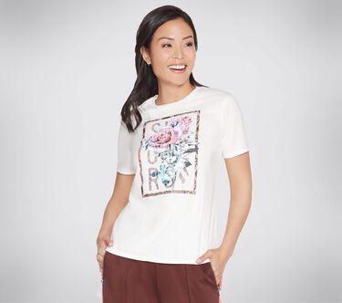 Skechers Apparel Wild Rose Tee Shirt, WHITE, large image number 0
