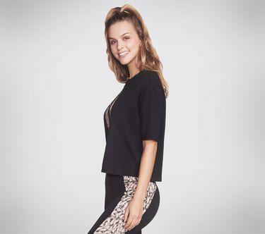 Skechers Apparel Cheetah Diamond Logo Crop Tee Shirt, BLACK, large image number 2