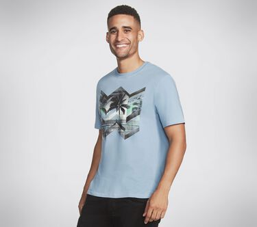 Skechers Apparel Geo Ombre Crew Tee Shirt, LIGHT BLUE, large image number 2
