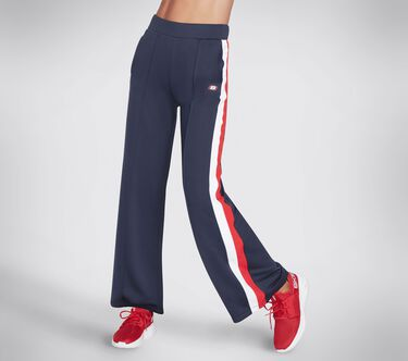 Skechers Apparel Banner Wide Leg Pant, WHITE / RED / NAVY, large image number 0