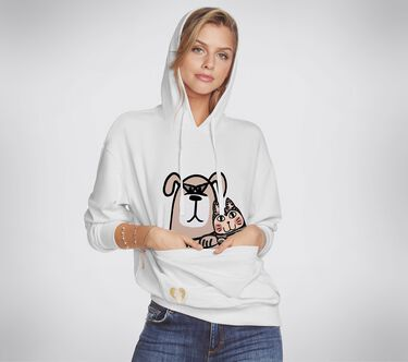 BOBS Apparel Pet Pouch Pullover Hoodie, WHITE, large image number 0
