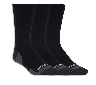 3 Pack Half Terry Crew Socks, BLACK, large image number 0