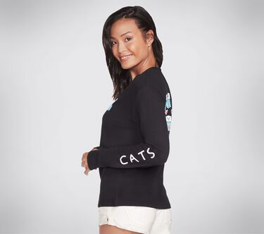 BOBS Apparel - Love Cats Long Sleeve Tee Shirt, BLACK, large image number 2