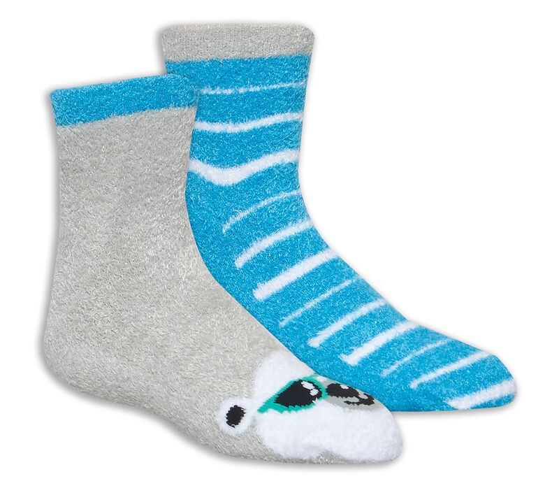 2 Pack Bear Cozy Crew Socks, LIGHT BLUE/WHITE, largeimage number 0