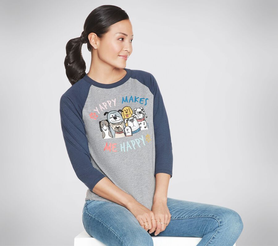 BOBS Apparel Yappy Happy Baseball Tee Shirt, GRAY, largeimage number 0
