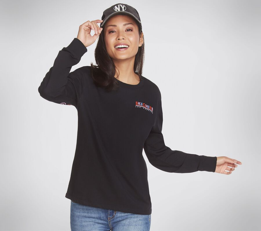 Skechers Apparel Retro Longsleeve Tee Shirt, BLACK, largeimage number 0