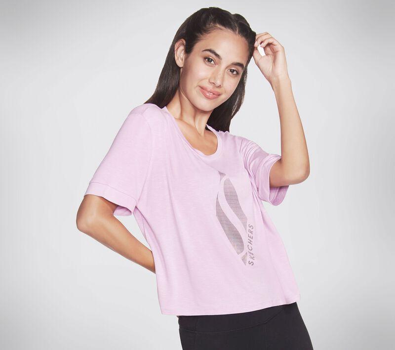 Skechers Apparel Glow Up Diamond Tee Shirt, LILAC, largeimage number 0