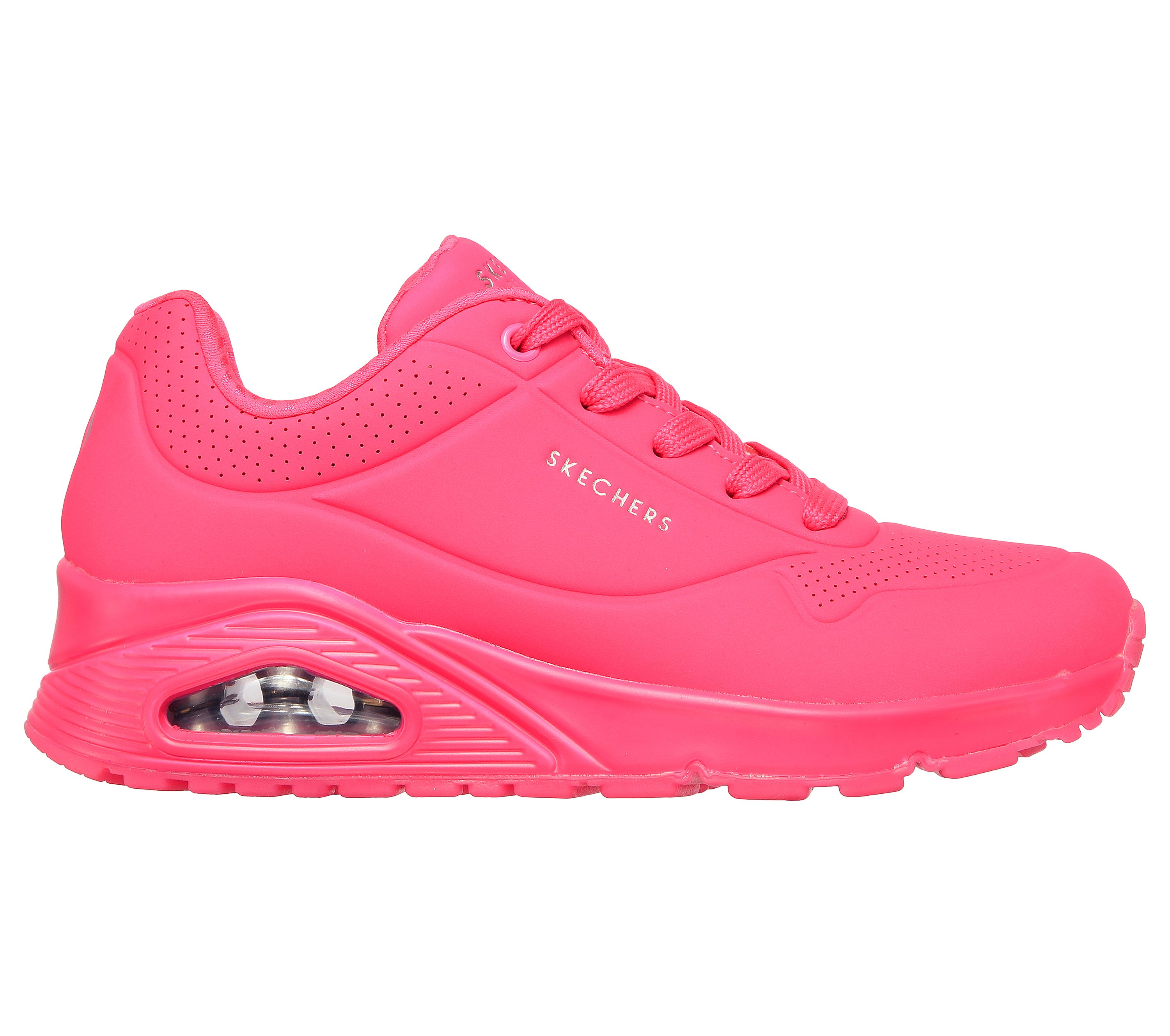 1 Brand New with Box Skechers Girl/'s Black 2 Neon Pink Shoes Size 11